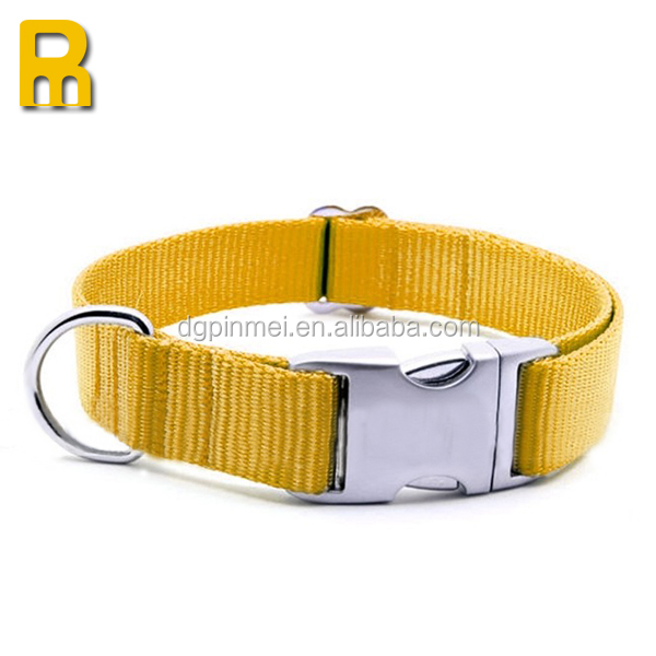 Yellow color pet dog collar with metal buckle