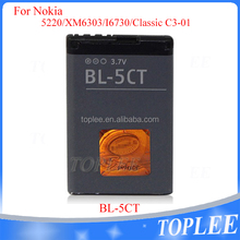 Original Capacity replaceable battery for nokia bl-5ct 5220 6303 6303i 6730 C3-01 C5-00 C6-01with factory price