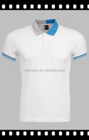 Custom Embroidery Men Golf Slim Fit T Shirt Polo White Blue