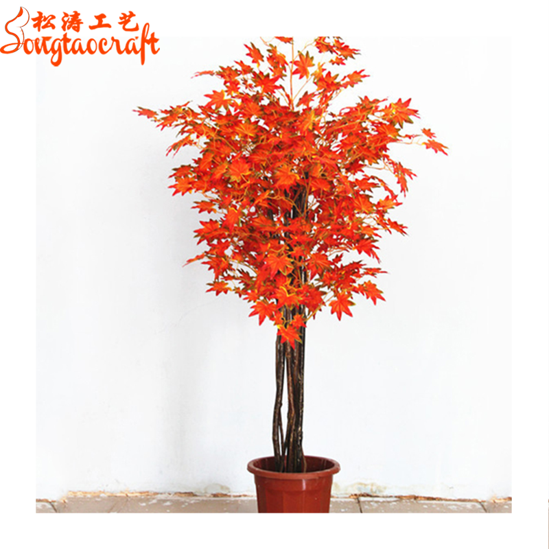 Red japanese bonsai trees and plants plastic artificial fake maple on black bamboo indoor plant, japanese bonsai indoor plant, norwegian spruce indoor plant, japanese tree indoor plant,