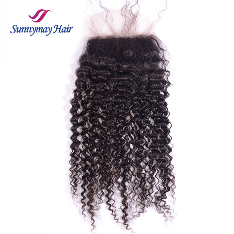 Sunnymay 100% Unprocessed Deep Curly Peruvian Hair Swiss Lace Silk Base 4*4 Top Closures
