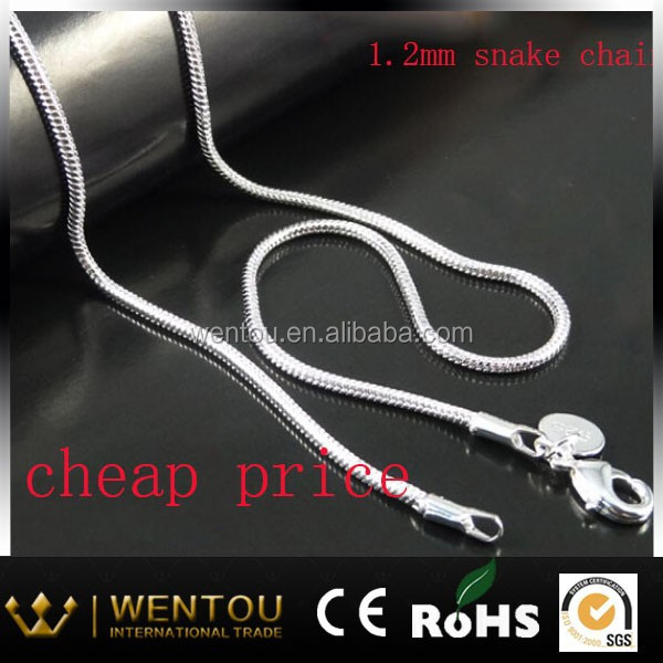 1.2MM cheap sell snake chain necklace 925 silver jewelry