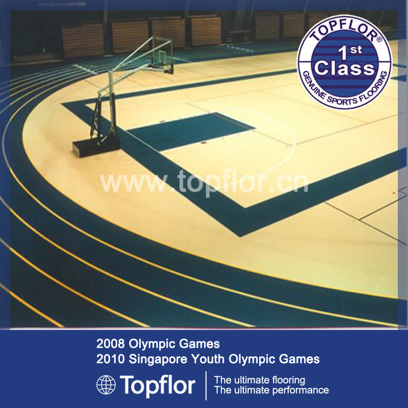 World top level pvc laminated hardwood flooring for indoor sports center