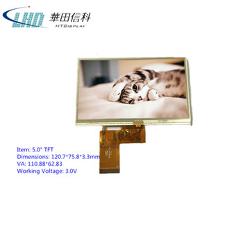 5.0 inch TFT LCD panel 800x480 RoHS compliant with touch panel
