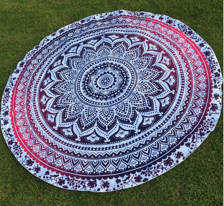 2016 new style high quality cotton beach towel, large Round Beach Towel/ Yoga Mat with Tassel