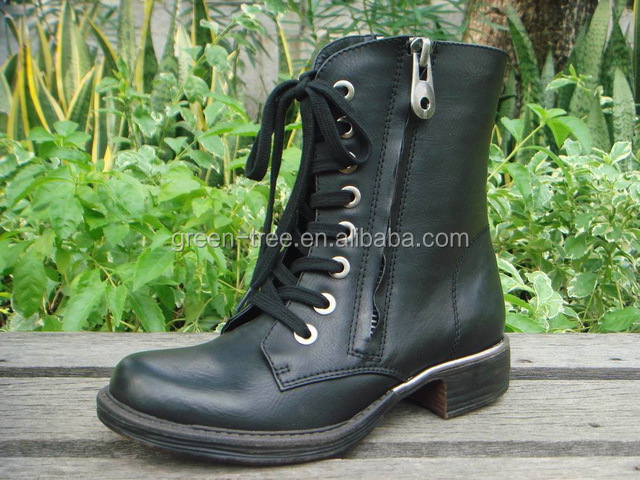 2016 Fashion Design Lace Up Leather Thick Heel Women Ankle Half Martin Boots