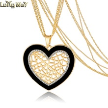 Gold Plated Fashion Jewelry Austrian Crystal Heart Pendant Necklace Women Gold Plated Necklaces & Pendants collare