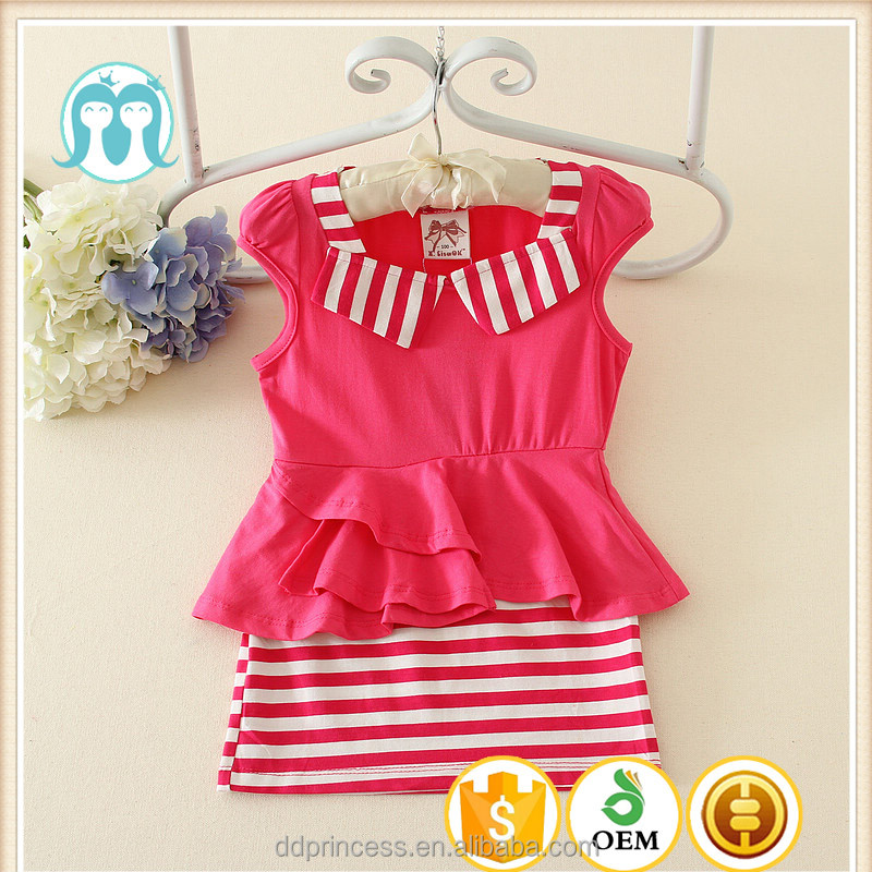 Latest Cheap Summer Collection Dress Stripe Designs Fish Cutting Beautiful Casual Streak Kids Girls Dresses Wholesale Skirts