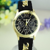 new arrival 12 colors classic silicone wristband geneva watch