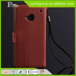 Wholesale Stylish Phone Protective genuine Leather Flip Cover Case For HTC One M7