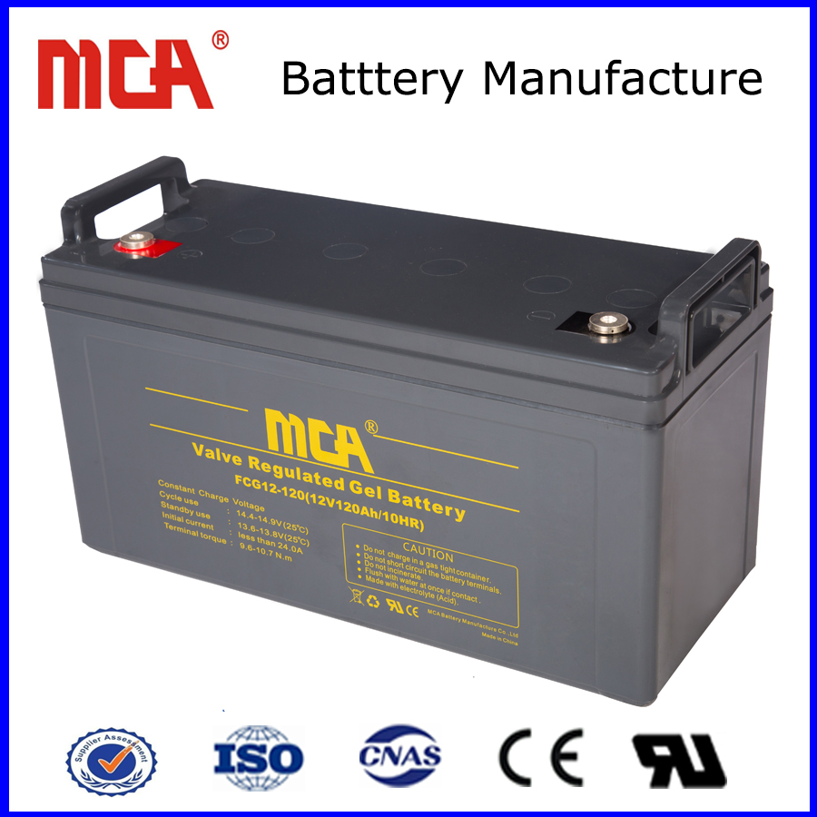 Top quality 12V 120Ah gel dry battery for solar system