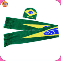 Wholesale scarf and hat set,sport scarf and beanie hat/brazil scarf and hat set