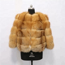 Winter real high quality Woman italian short Red Fox Fur Coat