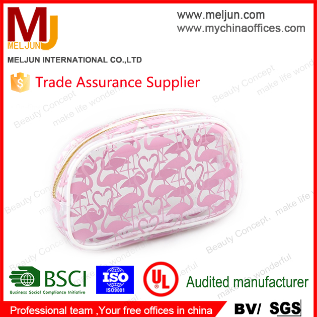 Alibaba loyal factory high quality plastic pvc eva waterproof cosmetic bag with pink lip printing