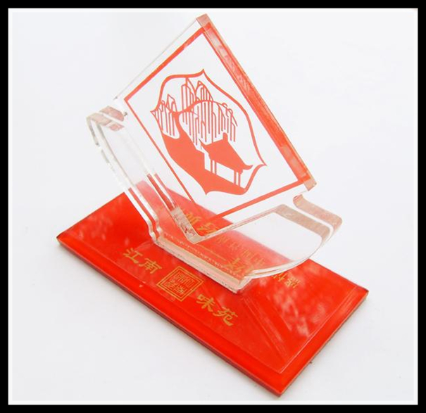 clear acrylic trophy block with red base,acrylic awards