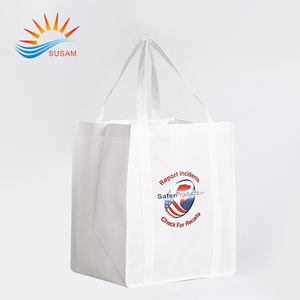 Recyclable foldable cheap eco friendly white non woven shopping bag with logo