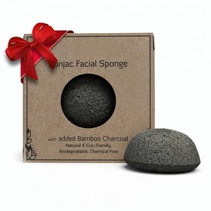 China Wholesale Black Bamboo Charcoal Heart Natural Beauty Clean Konjac Sponge for Skin Care