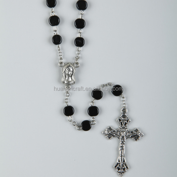 6mm Factory black acrylic bead parts of the catholic colorful saint prayer chain rosary