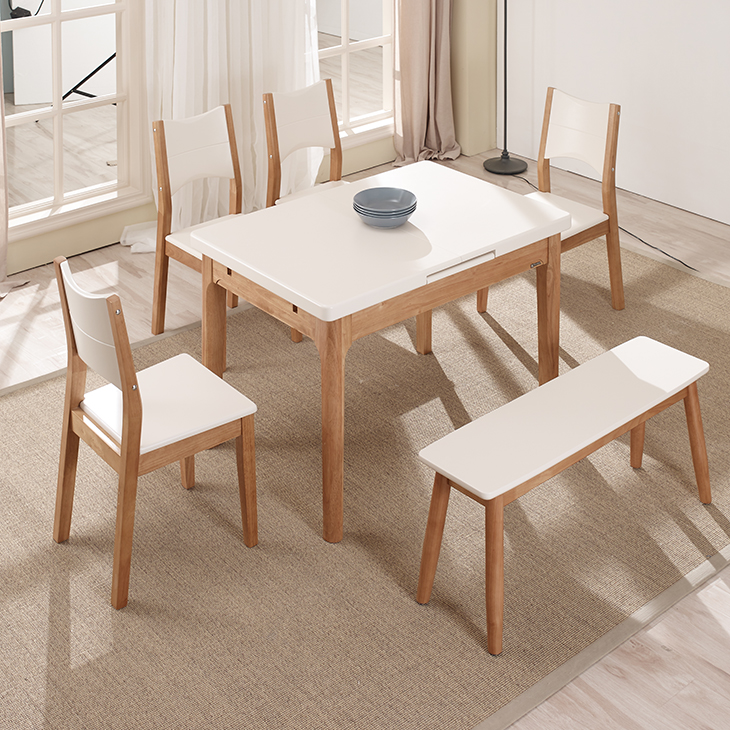 Home Furniture Rectangular Extending Dining Table and Chairs