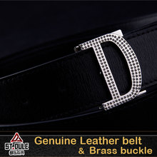 High fashion 34mm custom used leather belt with D buckle