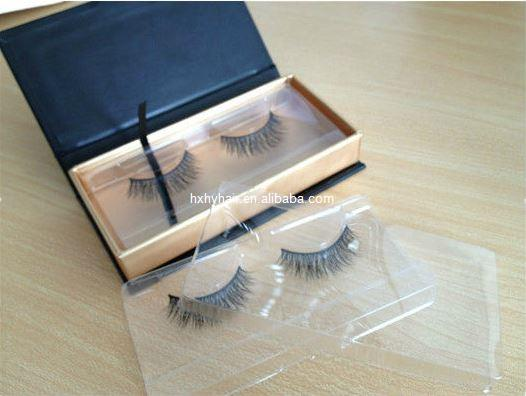 Beautiful human eyelashes with customized packaging box