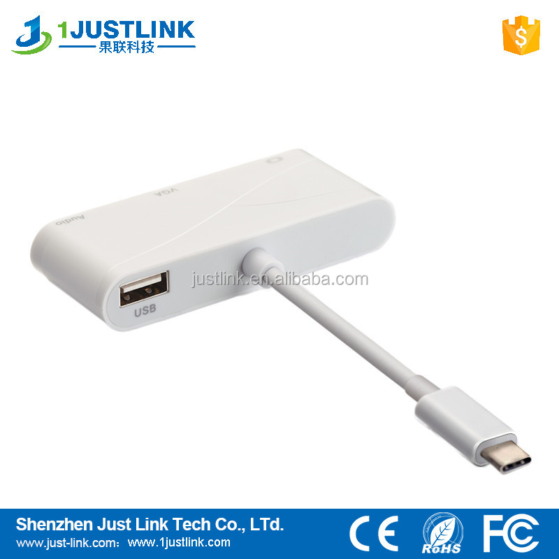 USB3.1 type c to VGA Audio HDMI with power adapter plug and play 3 in 1 adapter cable