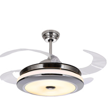 Zhongshan Fancy Big Glass Dinning Room Ceiling Fan Light Solar