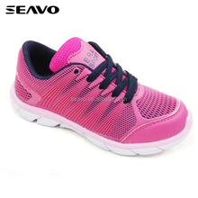 SEAVO SS17 latest fancy footwear integral 3D rubber lady pink breathable flexible jogging shoes