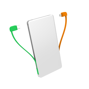 5000mah 2 USB Port power bank built-in cable slim thin power bank