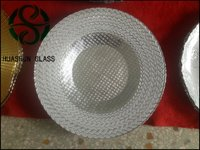 China Cheap Wholesale Gold Grid Glass Charger Plates For Wedding Decorative