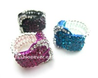 Fashion Belt Buckle Shape stretch ring with colored rhinestone