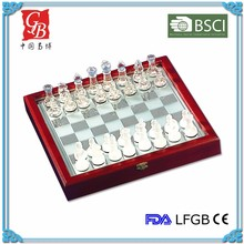 10'' Glass chess game glass chess set white clear & frosted pieces wooden box