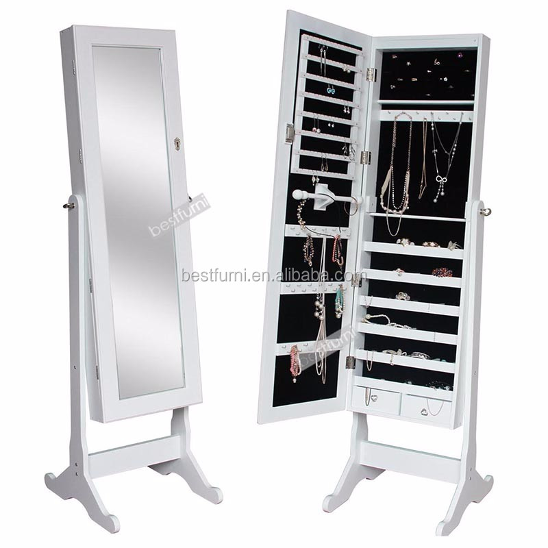 Free Standing Cheval Mirror and Jewelry Armoire Display with LED Light