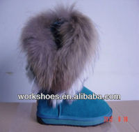 DALIBAI 2013 fashinable BBTB2215 female (lake blue and black) hot-sell fur lined leather snow boot for women