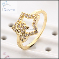 Lady's five-pointed star shape fashion gemstone brass cz ring