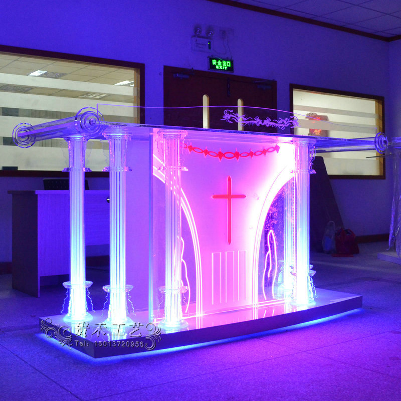 GUIHEYUN factory price cheap portable acrylic glass pulpit for church crystal acrylic podium