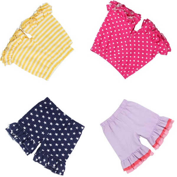2016 clothes for baby girls ruffle shorts children striped dot plain girls boutique ruffle shorts organic cotton shorts baby