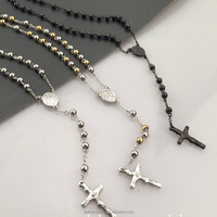 Stainless steel jewelry free rosary bead jesus necklace