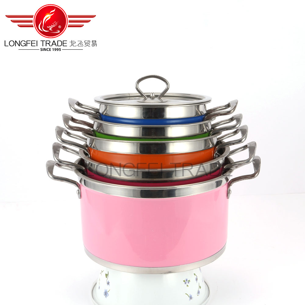 5pcs Hot Sale Glass Lid Metal Handle Large Capacity European Style Stainless Steel Cookware Set Pot&Pan