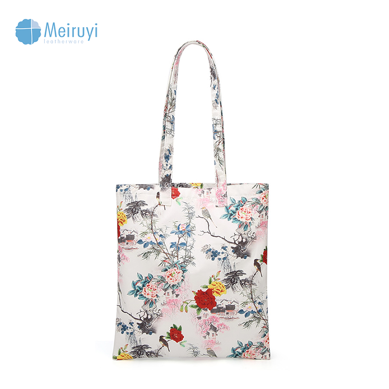 Boutique ladies eco friendly wholesale reusable elegant designed flower print non woven foldable shopping bag