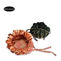 small round bottom satin drawstring pouch bag for jewelry packaging