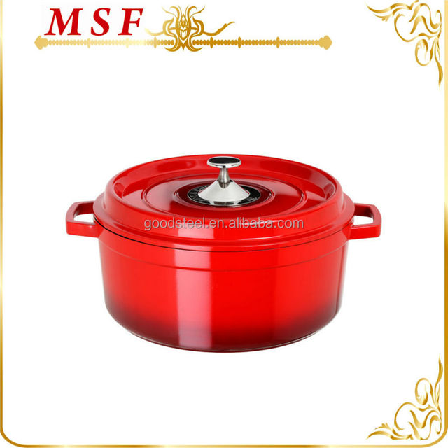 red gradients color with stainless steel knob cast iron casserole