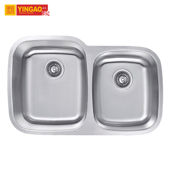 Handmade commercial custom size double bowls kitchen stainless steel sink