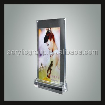 Custom Clear Acrylic Table Tent Frame Photo With Base