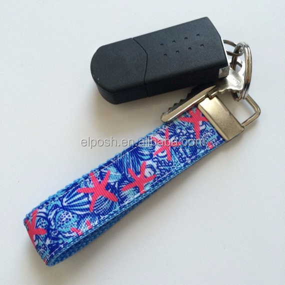 Personalized Monogrammed Key Fob Lilly Pulitzer Inspired Keychain