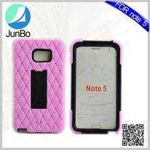 Manufacturer Wholesale Best Selling Item Fancy Design Kickstand Silicone+PC Cover Cell Phone Case for Samsung Note 5