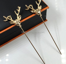 Vintage men suits gold deer metal lapel pin for party