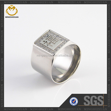 High Quality CZ Setting Around Engraved Letters Men's Ring