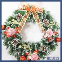 2015 promotion christmas decorations made in china red silk ribbon bowknot nice flower pattern christmas wreath