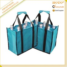Reusable customized foldable polyester wine carrier bag